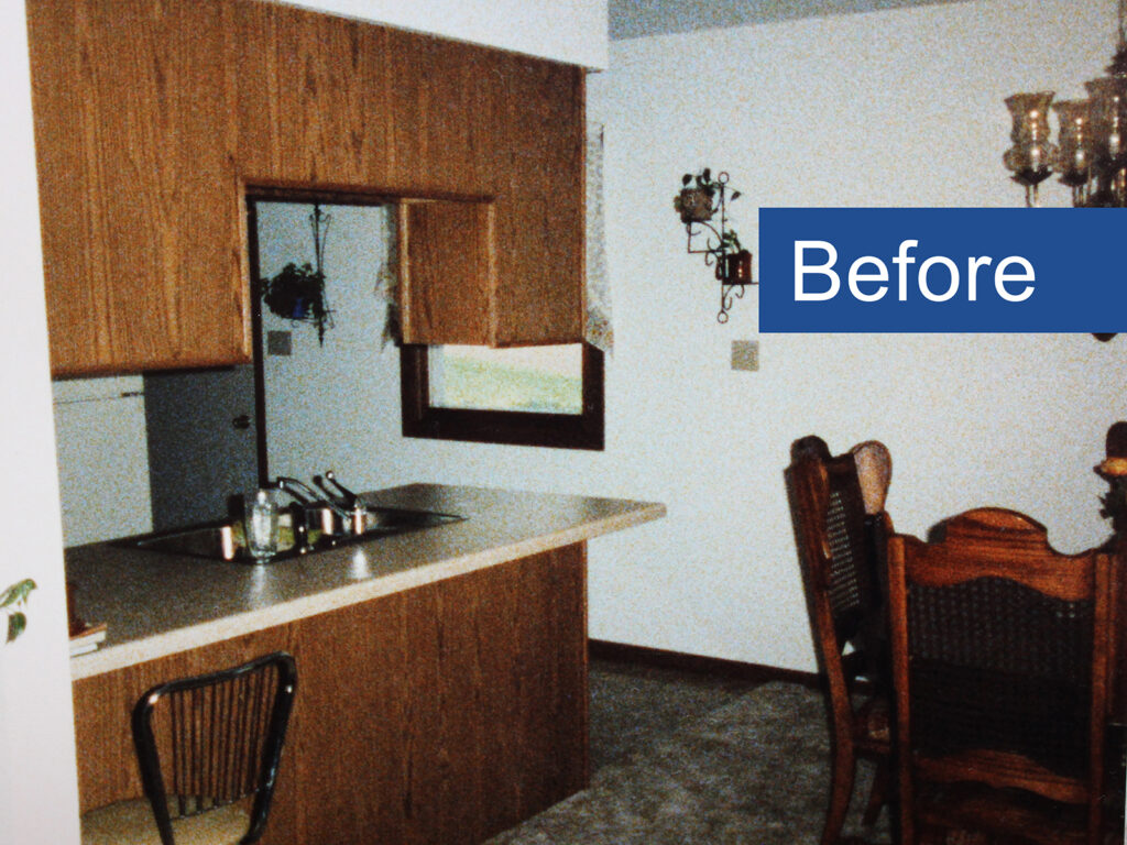 Before Makeover StarMark Cabinetry Elegant Redo of 1970s Kitchen 1