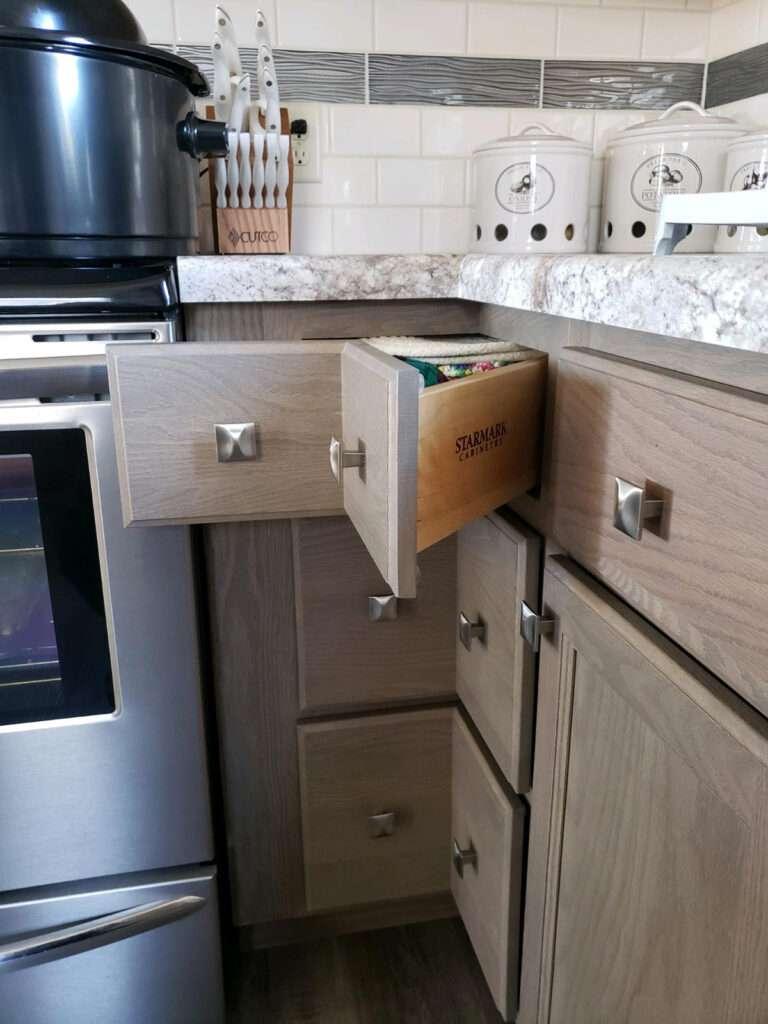 Maximum Storage with StarMark Square Corner Cabinetry Drawers