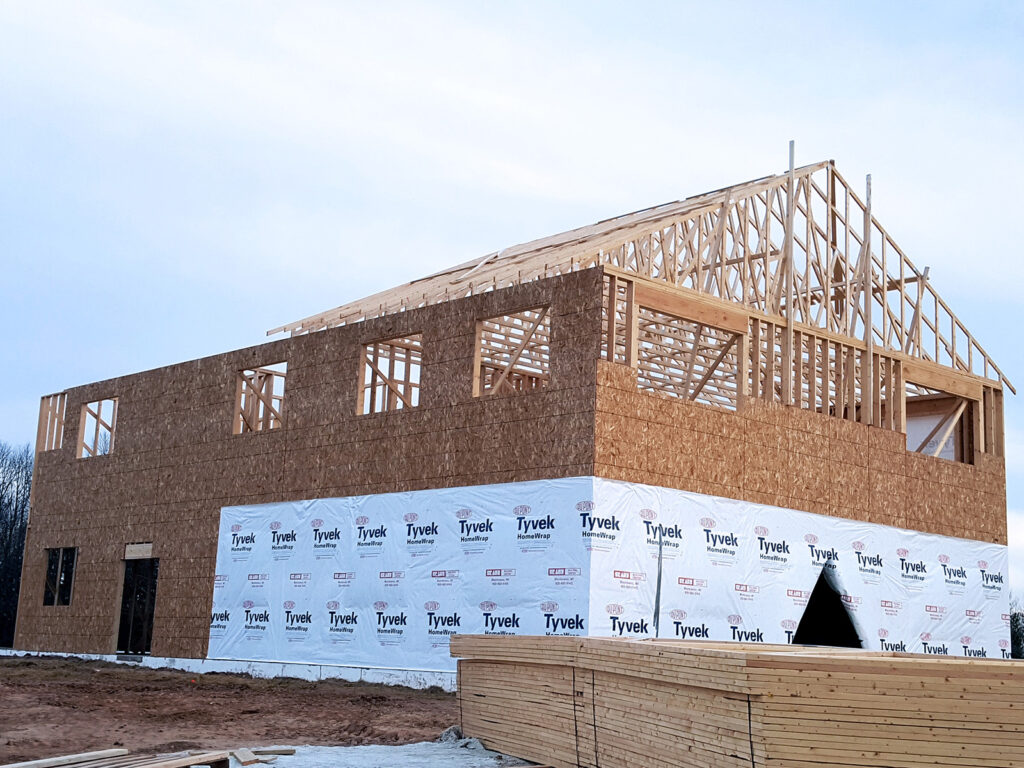 New Home Construction Timberstrand Tall Wall Framing 1