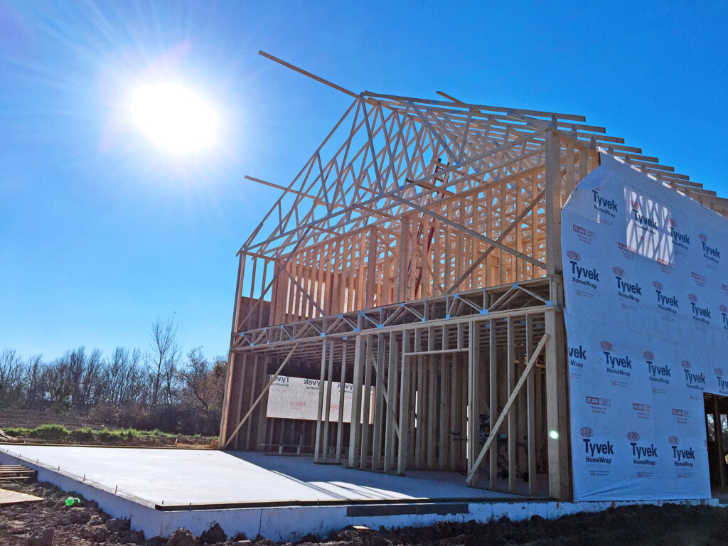 New Home Construction Timberstrand Tall Wall Framing 2