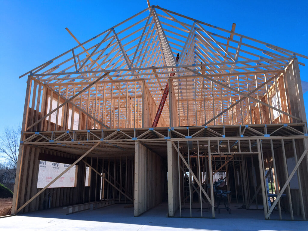 New Home Construction Timberstrand Tall Wall Framing 3