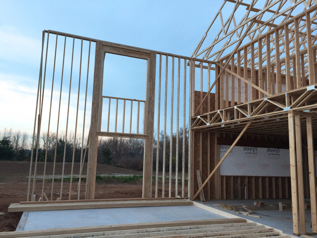 New Home Construction Timberstrand Tall Wall Framing 4