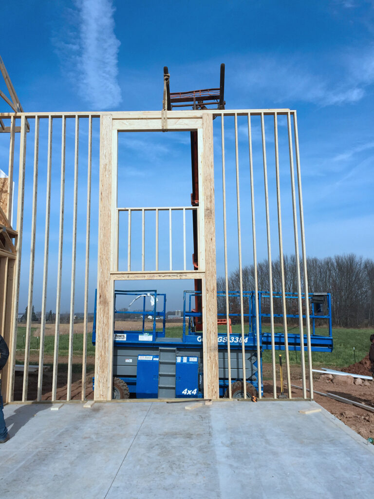 New Home Construction Timberstrand Tall Wall Framing 6