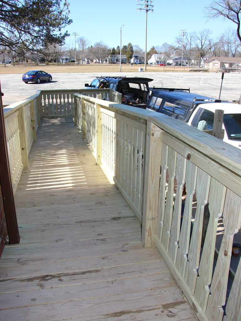View going down Lincoln Park Fieldhouse ADA Ramp
